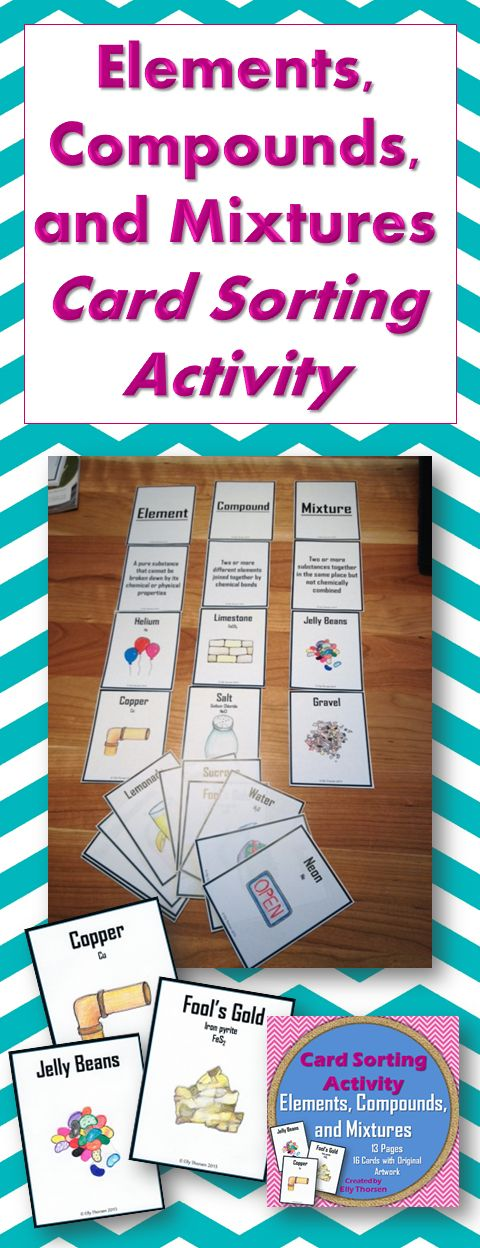 This activity helps students understand the differences between elements, compounds, and mixtures. They classify sixteen cards into piles of elements, compounds, and mixtures. Then they complete their student activity worksheet to help show their thinking and further distinguish between elements, compounds, and mixtures.   Each example card has both text and a picture, which is especially beneficial for ELL students. The pictures are all original artwork.