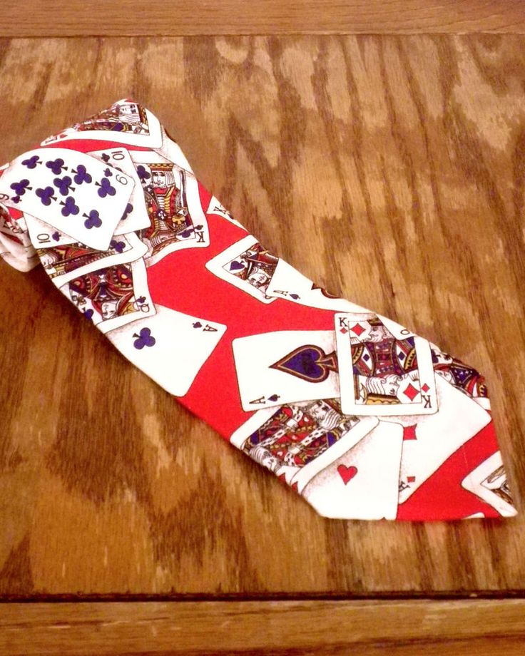 "vtg Ferrell Reed Johnston & Murphy Playing Cards Poker Silk Tie ITALY 57"" 3.5"""