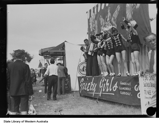 Gaiety Girls, sideshow attraction at the Perth Royal Show, 1935. Collection: Western Australian State Library