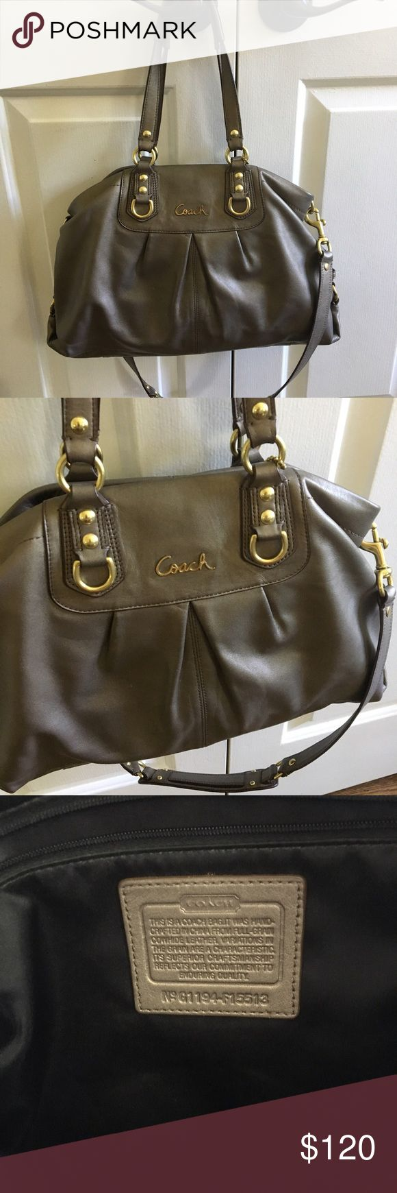 SALE!! Coach satchel bag Excellent used condition, authentic Coach satchel bag in a gold/gray color. Gently used for maybe one season.  Can be carried on shoulder or cross body, lots of storage inside! Getting rid of because I admittedly own too many purses, time to purge. Make me an offer! Coach Bags Satchels