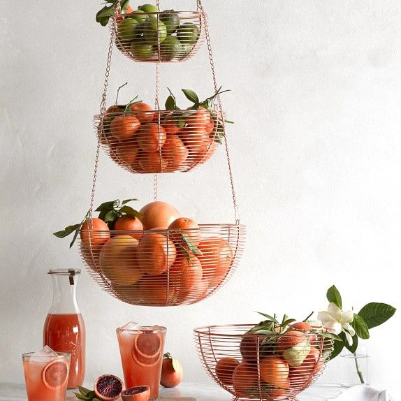 Superior Hanging Copper Wire 3 Tier Fruit Basket