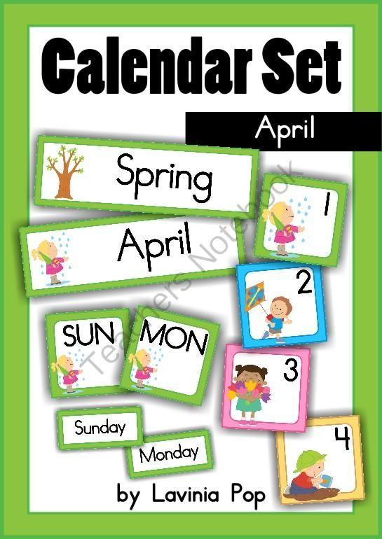 June Calendar Numbers For Preschool : Calendar cards set april from laviniapop on