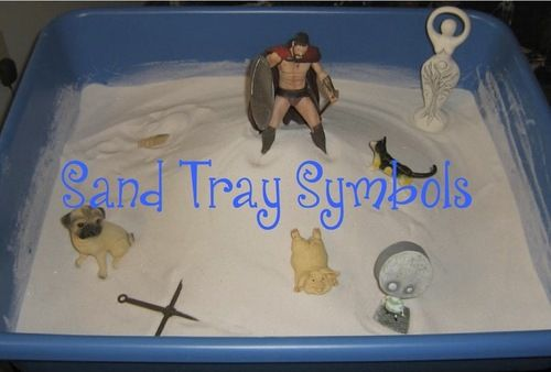 Sand Tray Symbols: Click the photo to see a list of common sand tray symbols.  Therapists no longer dissect sand trays and assign specific meaning to every object, but still interesting list to look at