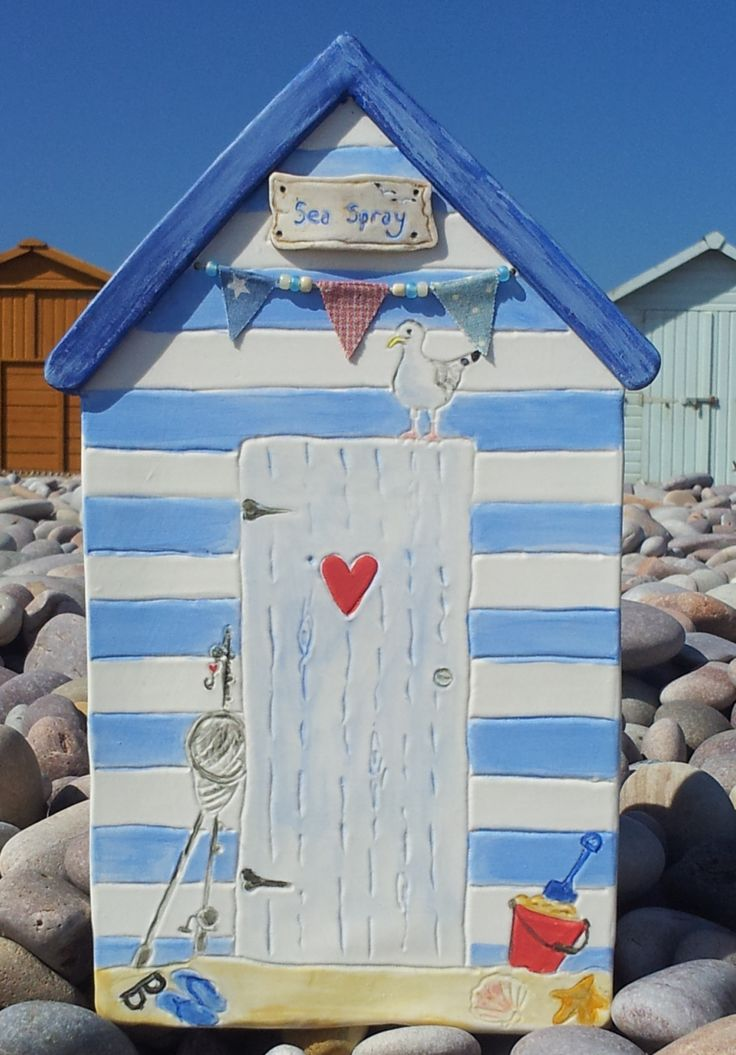 Ceramic Beach Hut Wall Hanging. For constant memories of summer!