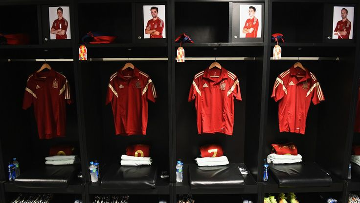 Shirts hang in the Spain dressing room