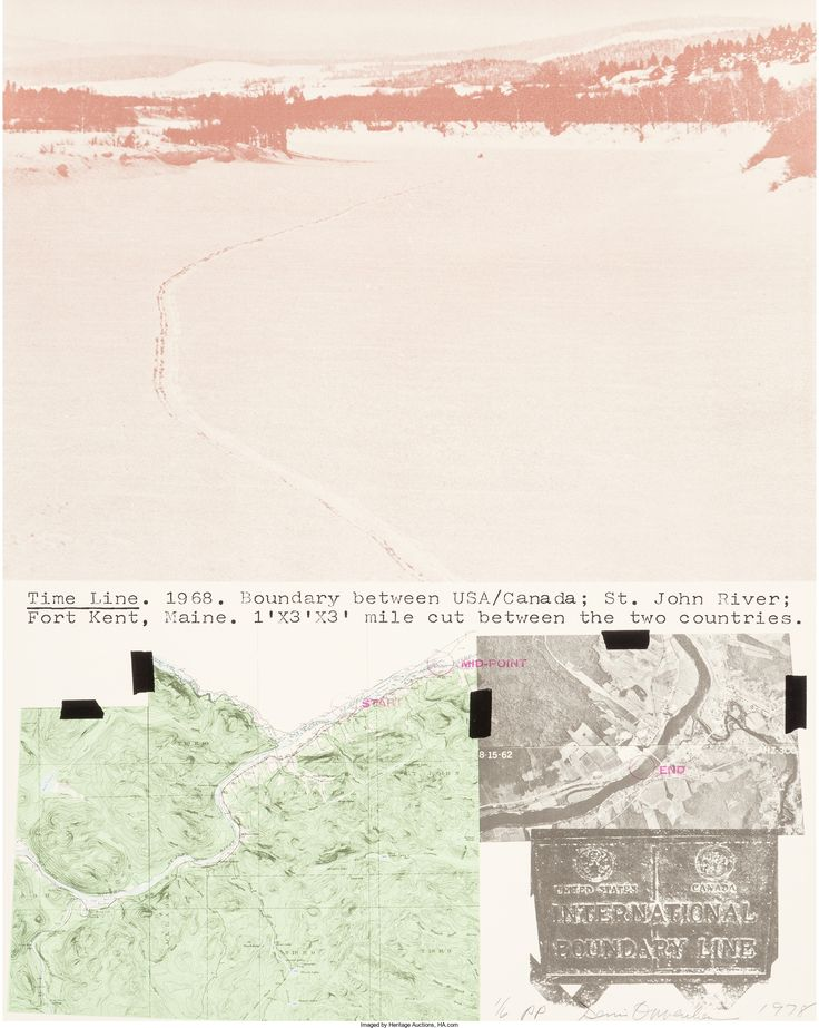 Dennis Oppenheim (1938-2011)  Time Line Kent, Maine, 1978  Lithograph in colors