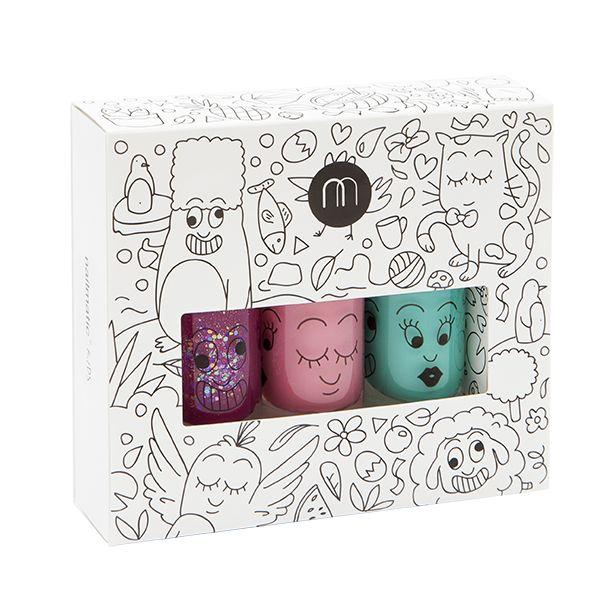 'Jungle' set of 3 (Pink Glitter/Green/Sky Blue) - nailmatic® kids - water based nail polish - HOWKAPOW