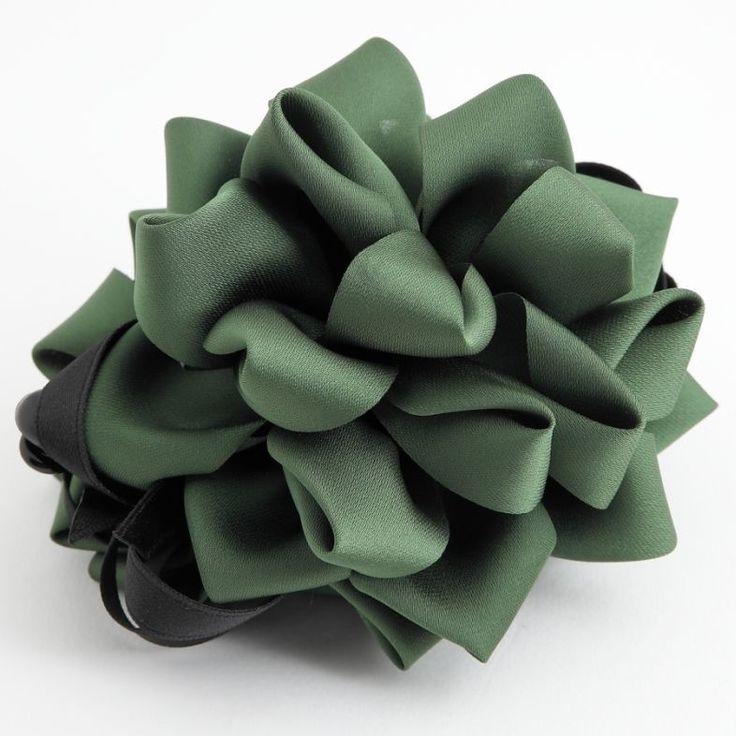 Handmade Ribbon Strap Bow Fabric Flower Banana Hair Clip Hair Accessories #Handmade