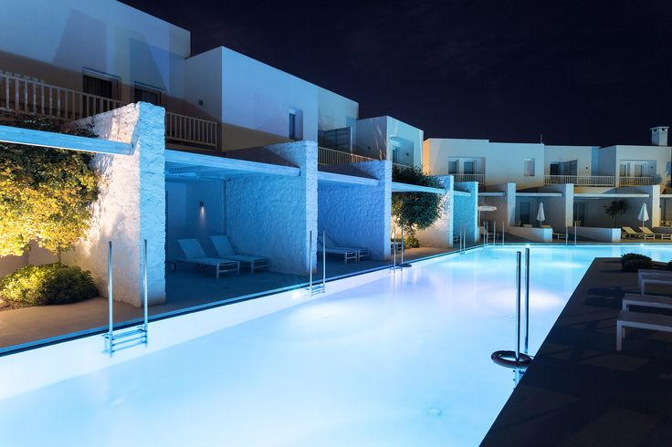 Our deluxe rooms reflecting on the ever changing colors of the pool at night. | ‪#‎patmos‬ ‪#‎yourpatmosaktis‬  www.patmosaktis.gr
