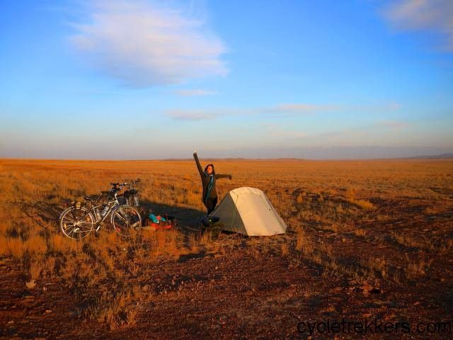 Cycling Kazakhstan during our France to China cycle tour in 2014. Kazakhstan was the last country we cycled through before reaching China.
