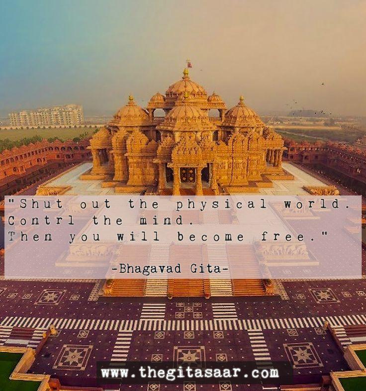 """Shut out the physical world control the mint. Then you will become free.""  -Bhagavad Gita-  #bhagavadgita #bgquotes #bhagwat #gita #mahabharat #bg #dailyquote #gitaquote #Bhagavad #Gita #Gitasaar #Sanskrit Shlokas  #Krishna #Arjuna #Hare Krishna #sanskrit #bhagavat #bhagavad  #bhagwat gita  visit - www.thegitasaar.com"