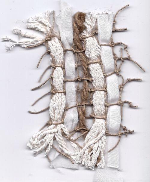 woven swatch. knotted net of hemp cord with cotton strings, jute, and strips of silk cotton.
