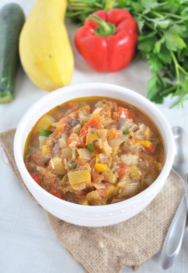 Make a bowl of whole 30 approved slow cooker ratatouille soup using