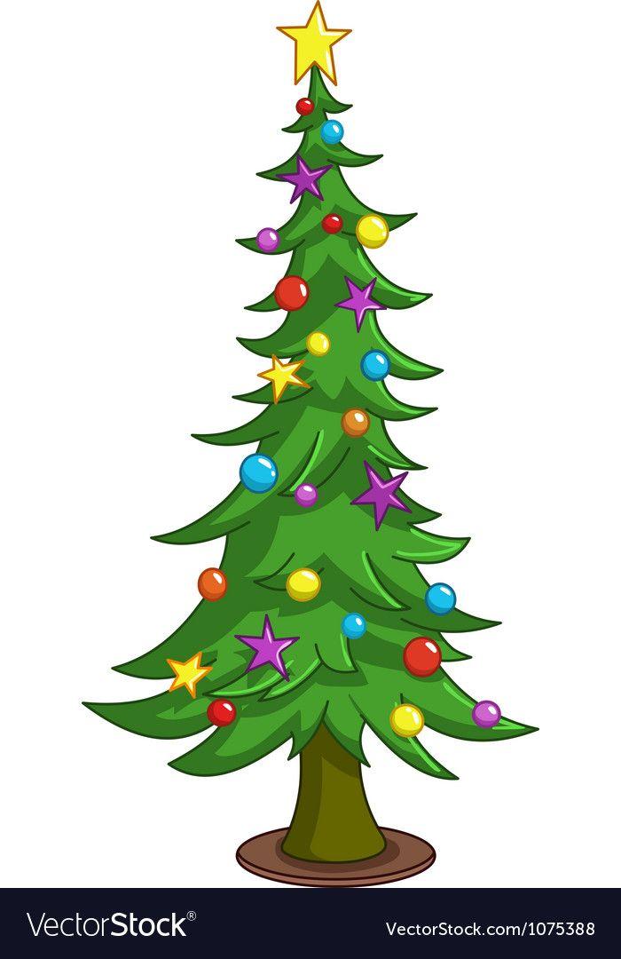 Cartoon Christmas Tree Vector Image On Vectorstock Christmas Tree Drawing Cartoon Christmas Tree Christmas Drawing
