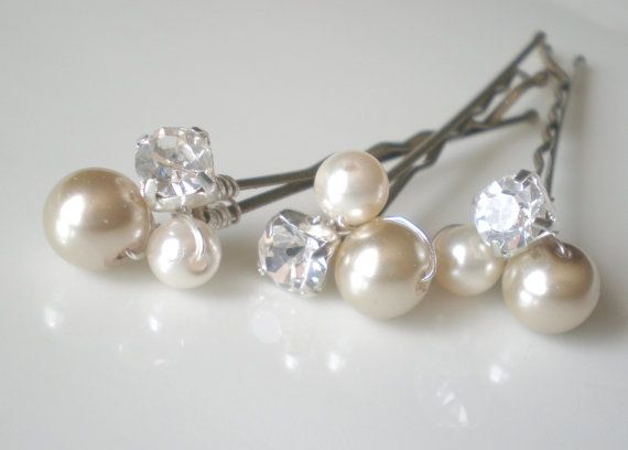 Taupe Jeweled Bridal Pearl Hair Pins... by blossomsandlace on Etsy