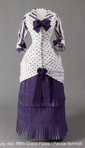 """1880 dress, French, cotton. Worn in the painting, """"Dans la serre"""" by Albert Bartholomé (1848-1928) by his wife, Prospérie (1849-1887). © Musée dOrsay,"""