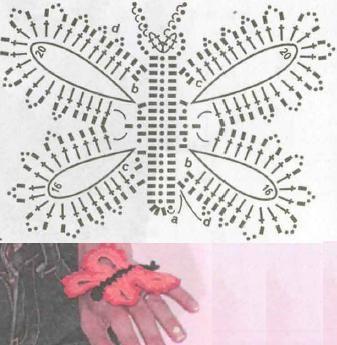 Схема вязания средней бабочки