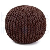 Luxury Choclate Hand Knitted Pouf.