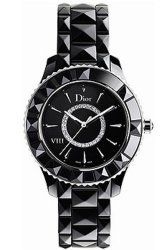 Christian Dior Women's CD1231E0C002 Black VIII Black Diamond Dial Ceramic Watch
