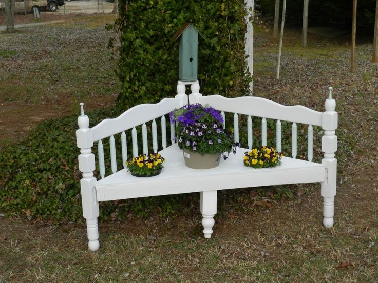 Benches Made From Old Beds Corner Outdoor Bench Made From Old Bunk Beds Great Ideas