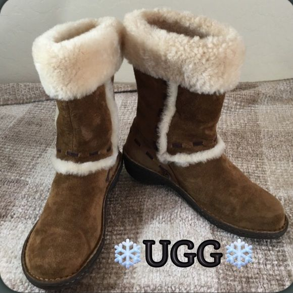"""UGG Chestnut Suede & Shearling Winter Boots ⛄️ UGG Gorgeous Chestnut Suede with Shearling Boots.   Beautiful Boots trimmed in Suede and Brown Woven Suede detail,  Gently loved.. Rubber traction soles! 10"""" High UGG Shoes Winter & Rain Boots"""