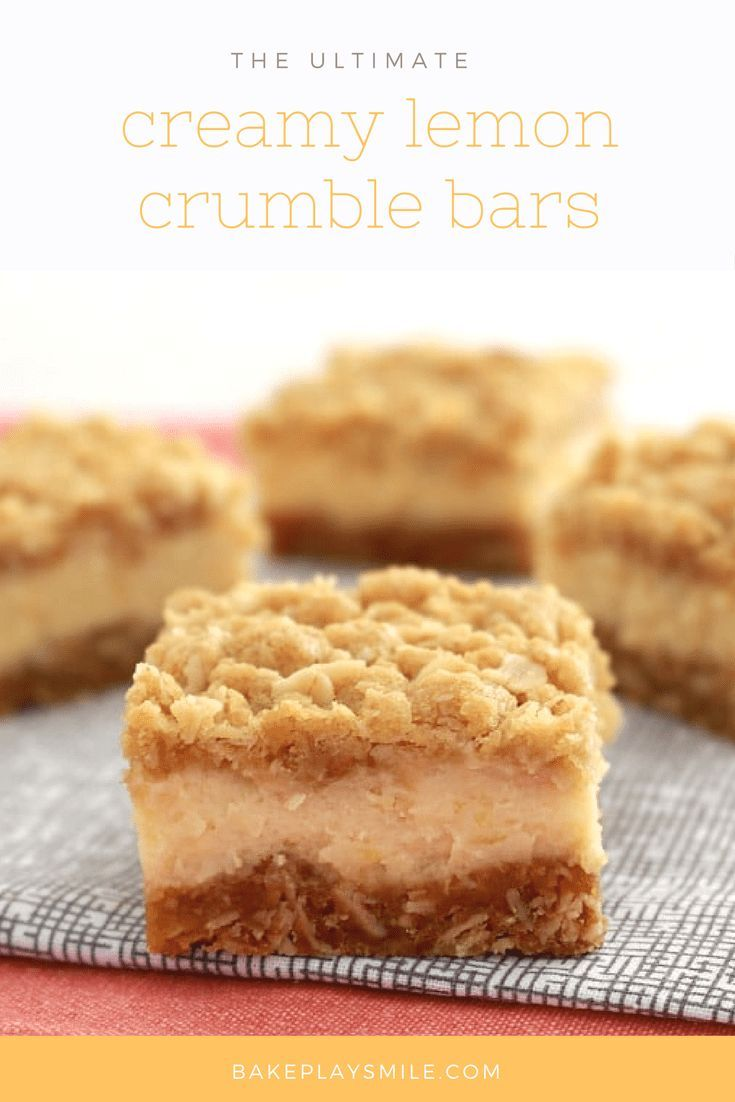 If you love lemons, then you��re going to LOVE these Creamy Lemon Crumble Bars with an oaty base, creamy lemon filling and crunchy crumble on top!