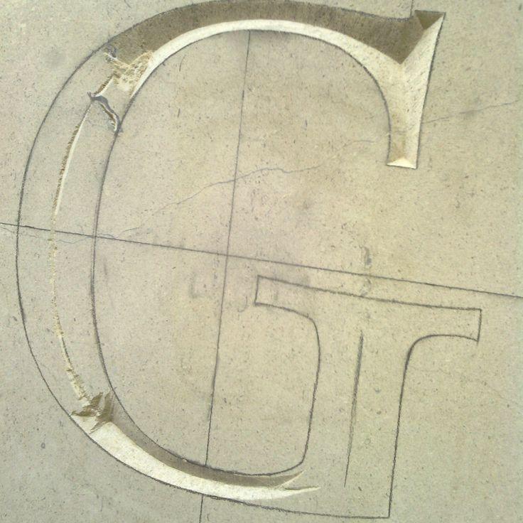 Partial carve in Bath stone block By Dan Anderson www.bespokelettercutting.co.uk