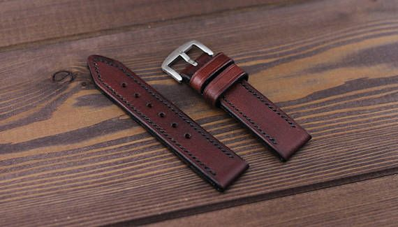 Burgundy leather watch strap 18, 20, 22, 24mm of vegetable tanned leather high quality with stainless steel buckle. 100% hand stitched!