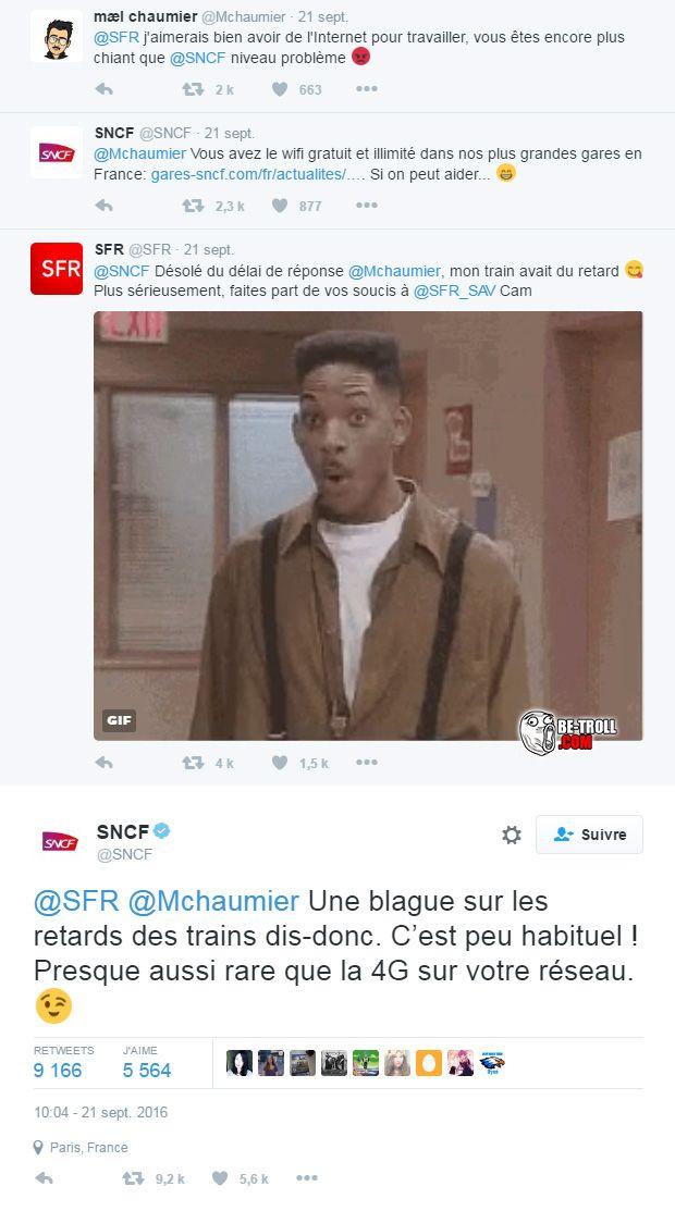 Un petit clash entre SFR et la SNCF... - Be-troll - vidéos humour, actualité insolite