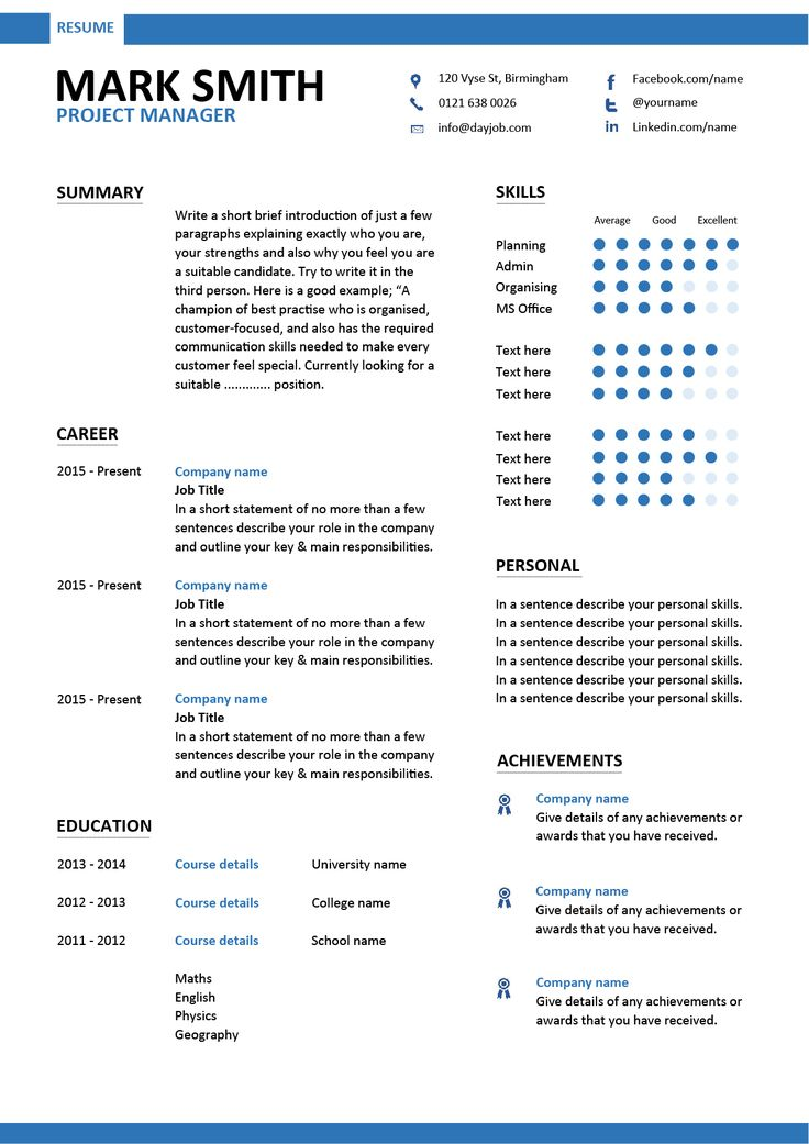 A Project manager resume that has a modern design and layout.