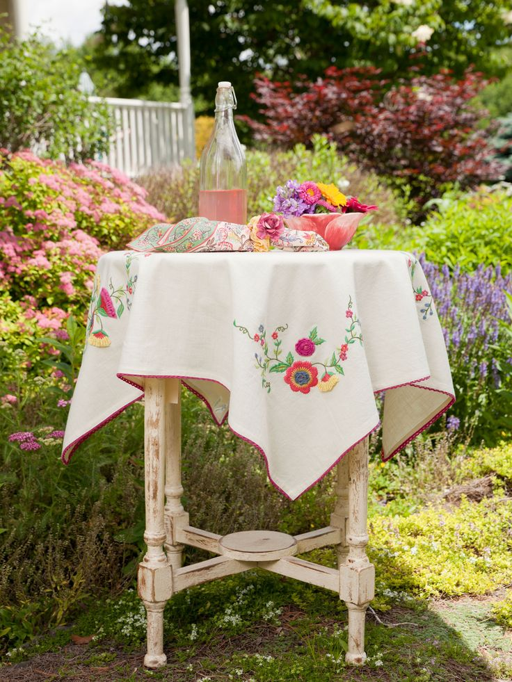 Top your table with festive, old-fashioned goodness with the Garden Topper. Adorned with lovely embroidered flowers at the corners and trimmed with a delicate crochet lace.