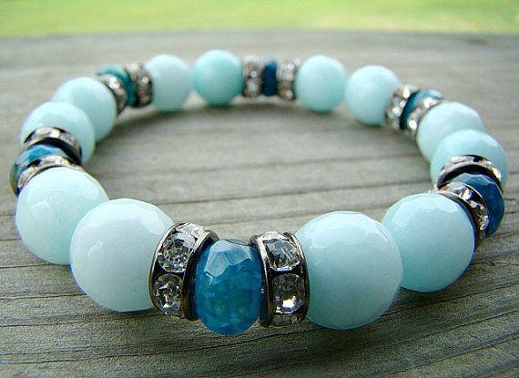 Blue Gemstone Stretch Bracelet, Light Blue Quartz Gemstone, Blue Agate, Clear Rhinestone