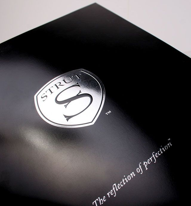 Located in San Clemente, California, STRUT has achieved benchmark status throughout the world for their trendsetting and distinctive jewelry collections, wheels, and accessories designed for connoisseurs of luxury automobiles. Our goal was to create a high-end, lifestyle brochure showcasing their custom car jewelry with a style all their own. We needed to tell the story that STRUT strives to build something that creates an identity for the client, the car, and the passersby on the road…