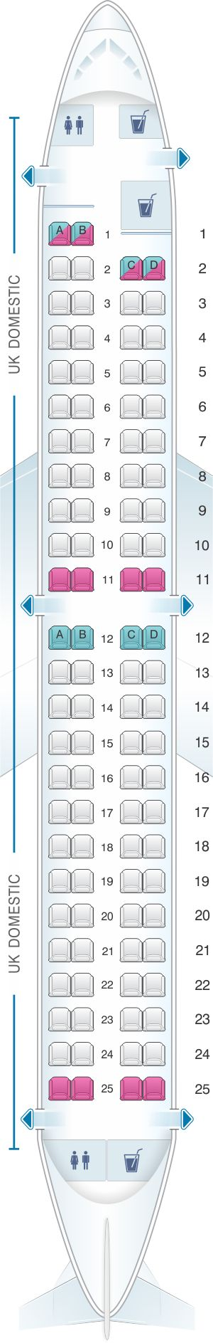 Seat Map British Airways Embraer 190 UK Domestic