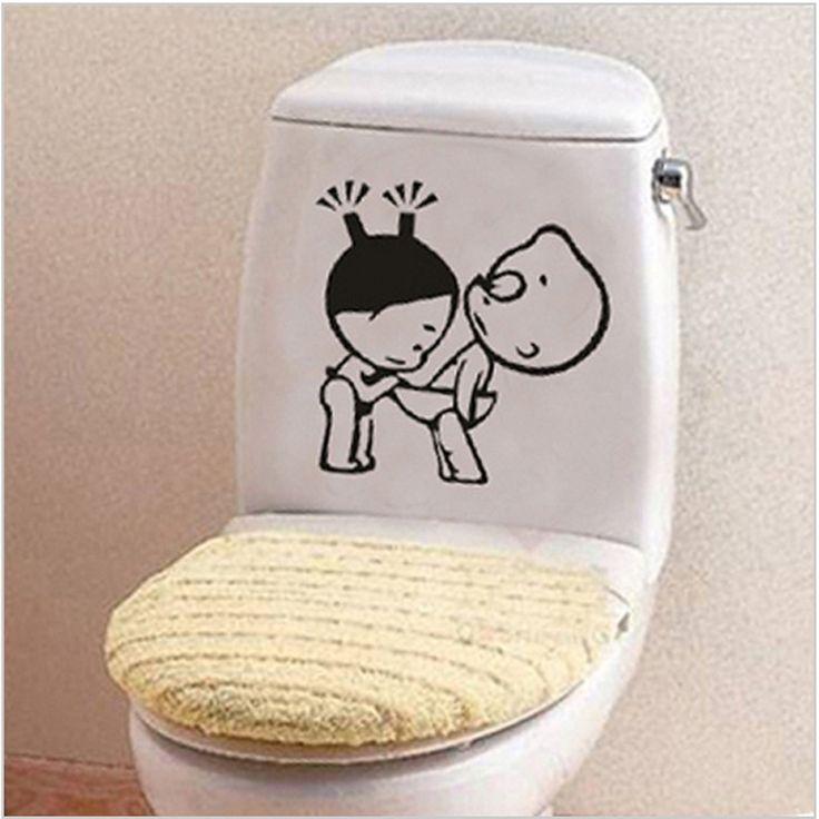 面白い浴室の装飾ホームデコレーションクリエイティブトイレステッカー用wc子供ルームビニール3dウォールステッカーにトイレ壁デカール