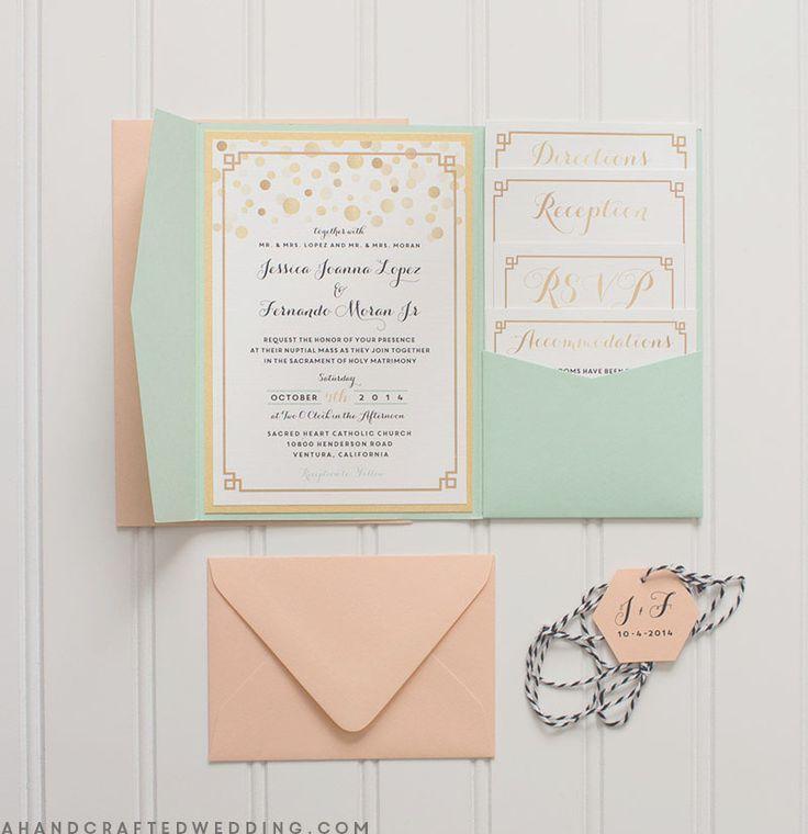 Modern Gold + Mint DIY Wedding Invitations | ahandcraftedweddi...