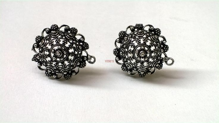 SH32 Antique Silver stud base with loop Stud size 22mm, With Rubber stopper Rs- 55/pair