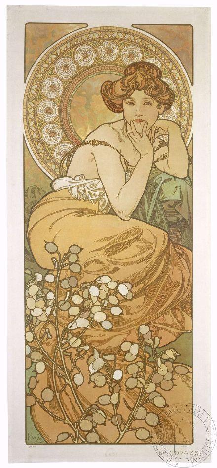 Drahokamy jsou znázorněné ženou provokativně hledící z plakátu na diváka, kolem hlavy je mozaikovitá aureola, v dolní části plakátu jsou květy v barvě typické pro topas.