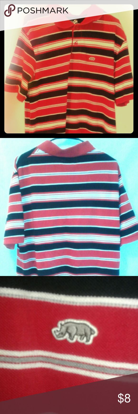 Ecko Unltd Large stripped Polo shirt Mens Pre owned Mens Red White and Black stripped Polo shirt.  Shirt is in great condition no stains, tears, marks, or damage.  The shirt is Large, made in India.  Normal wear. Ecko Unlimited Shirts Polos