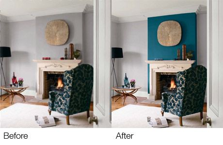 Teal Accent wall / fireplace wall but use blue of chair accent the teal around living room?
