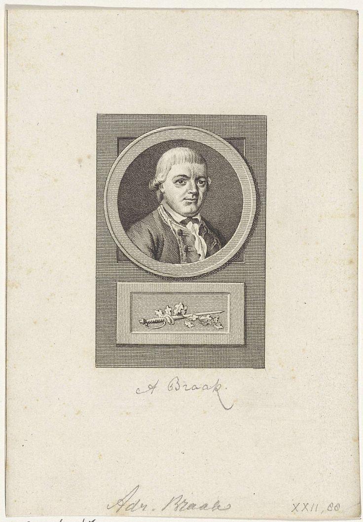 Reinier Vinkeles | Portret van Adriaan Braak, Reinier Vinkeles, 1783 - 1795 | Portret van de zeekapitein Adriaan Braak. Onder het portret een zwaard met eikenbladeren omkronkeld.