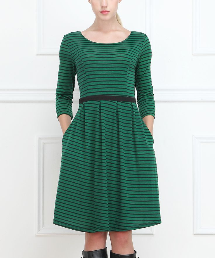 $30 zulily Green Stripe Pleated Dress. I want this!