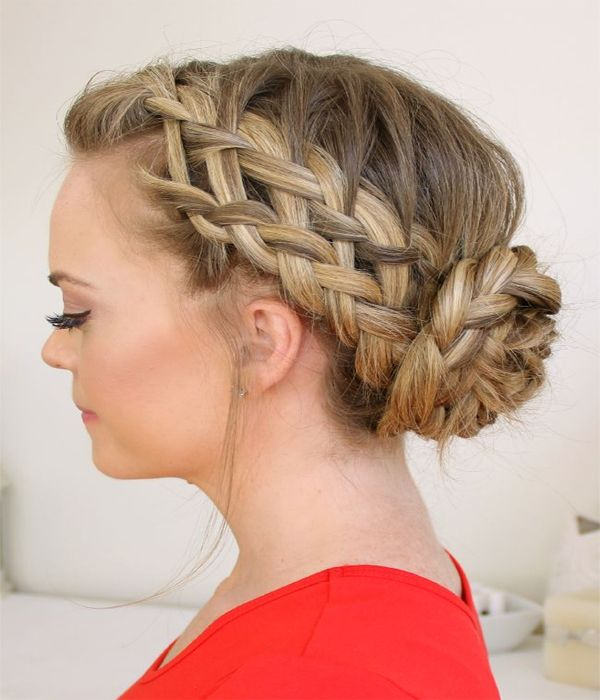 french braided bun hairstyle 2015