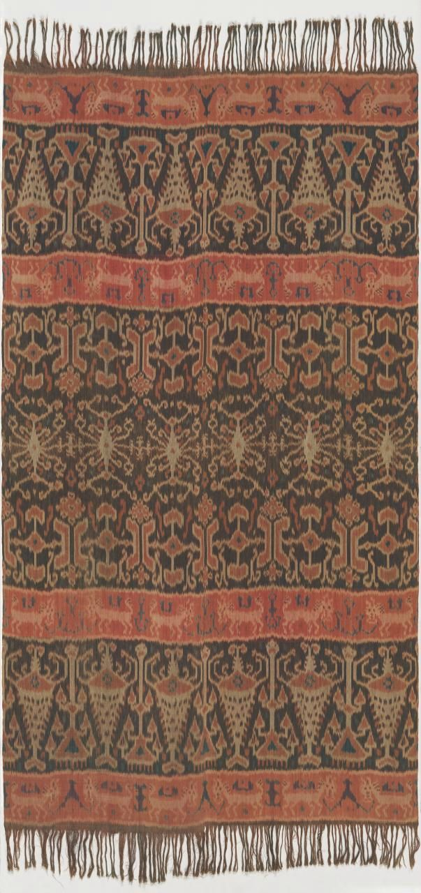 Indonesian, Man's cloth, Hinggi kombu, c. 1890, east Sumba, Indonesia; cotton, natural dyes; warp ikat. Bequest of Rose Mulock-Houwer MBE, 2007 (2007.692).