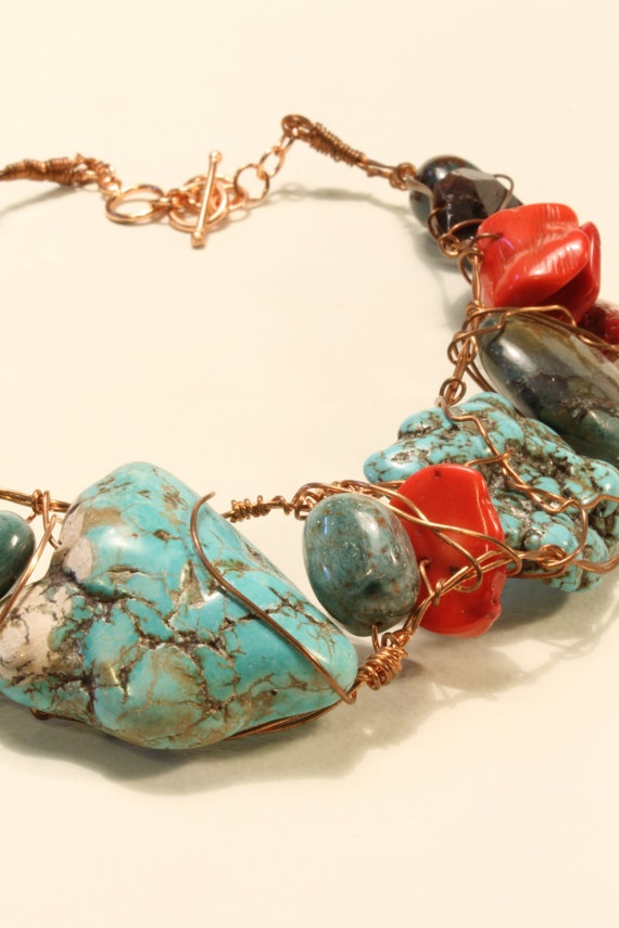 Wire Wrapped chunky necklace 23 Turquoise by HavenHummingbird, $85.00