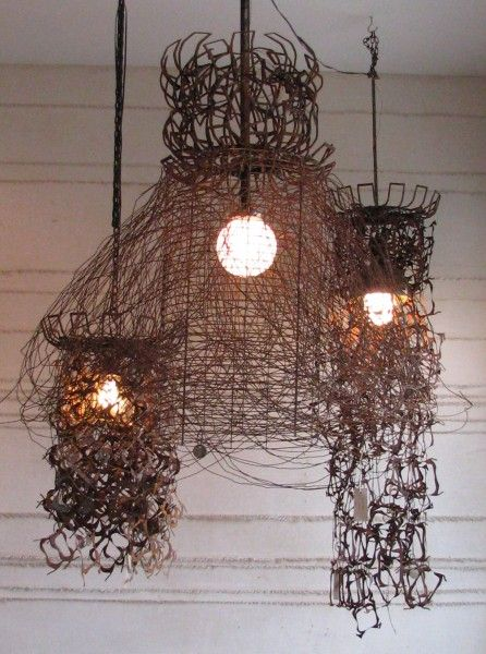 140 best lamp unto my feet images on pinterest for the home very cool recycled scrap metal lamps metal chandelierwire lampshadelight keyboard keysfo