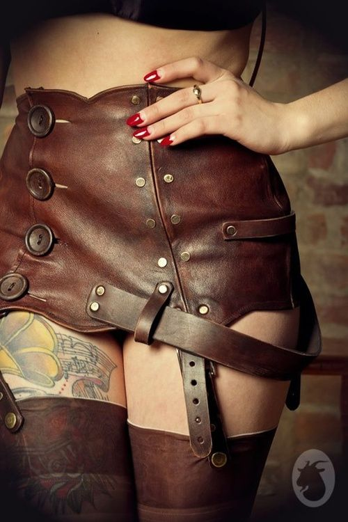 Can't find a real source for this steampunk leather garter skirt, but holy eff do I love it!