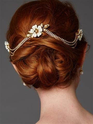 Handmade Triple Combs Enamel Bridal Hair Headpiece with Crystal Swags - Joy of London Jewels