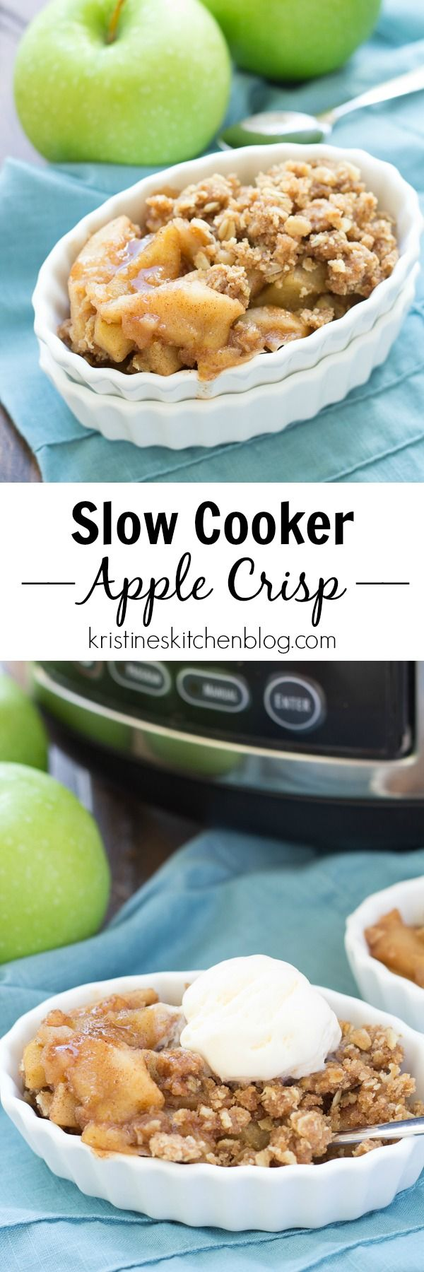 Easy Slow Cooker Apple Crisp, made completely in the crock pot! Juicy, spiced…