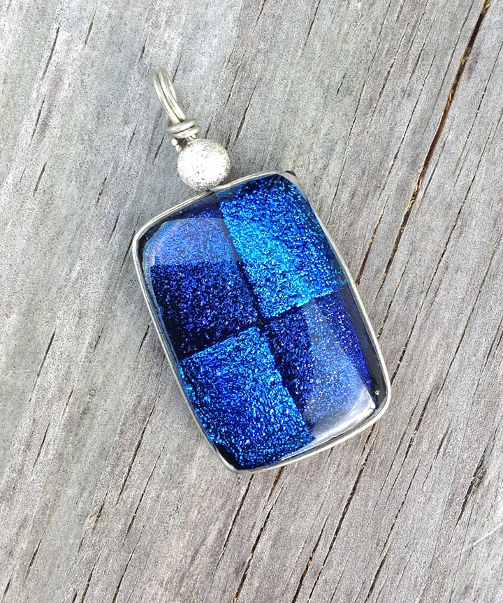 Unique Blue and Gray Purple Fused Glass by struthersstudios